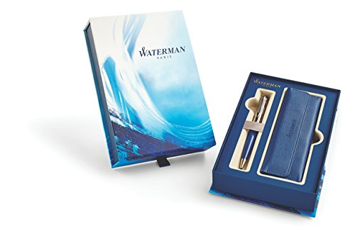 Waterman Expert Deluxe Blue Obsession Ballpoint Pen with Blue Pen Pouch Set by Waterman