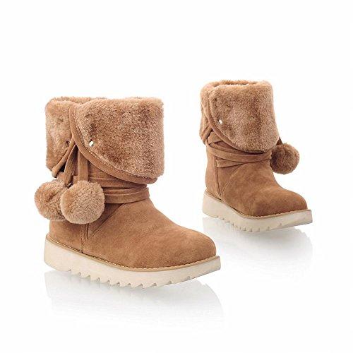 Carol Schoenen Leuke Dames Dual-purpose Pom-poms Namaakbont Snaps Mode Winter Gebruik Platte Sneeuw Laarzen Geel