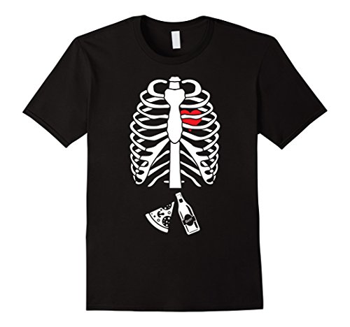 Mens Halloween Beer Pizza Pregnancy Announcement Skeleton Shirt Medium (Guys Skeleton Costumes)