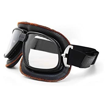 Bertoni Vintage Motorcycle Goggles in Black Leather and Orange Stitching with Anticrash Lenses By Bertoni Italy - AF196B - Motorbike Aviator Goggles