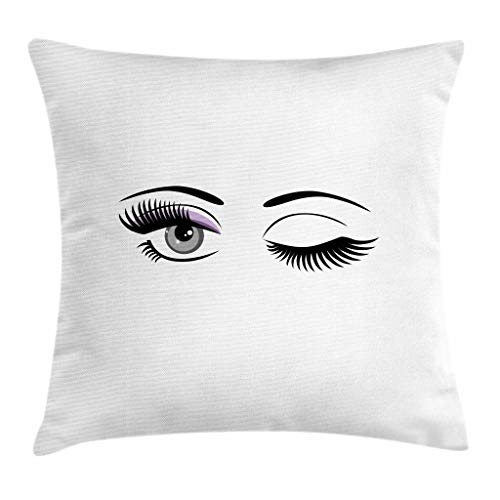 """Ambesonne Eyelash Throw Pillow Cushion Cover, Cartoon Style Dramatic Woman Eyes with Long Lashes Winking Flirting Gesture, Decorative Square Accent Pillow Case, 26"""" X 26"""", Black Lilac"""