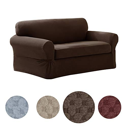 MAYTEX Pixel Ultra Soft Stretch 2 Piece Loveseat Furniture Cover Slipcover, Chocolate Brown ()