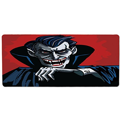 iPrint Pet Mat for Food and Water,Vampire,Cartoon Cruel Old Man with Cape Sharp Teeth Evil Creepy Smile Halloween Theme,Blue Red Grey,Rectangle Non-Slip Rubber Mat for Dogs and -