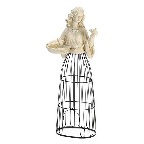 Elegant Magnesia Maiden Sculpture with Bird Feeder and Plant Climbing Wire Skirt Garden Decor