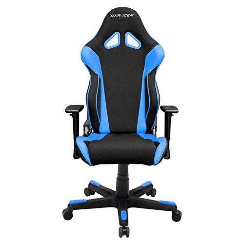 DXRacer Racing Series DOH/RW106/NB Racing Bucket Seat Office Chair Gaming Chair Automotive Racing Seat Computer Chair eSports Chair Executive Chair Furniture with Free Cushions (Black/Blue) by DX Racer