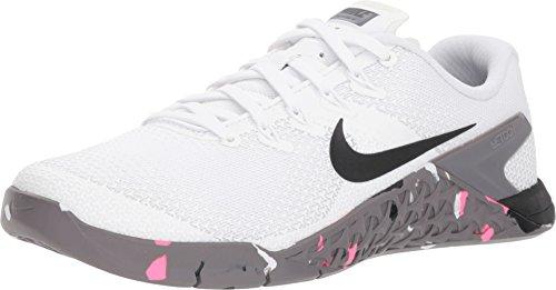NIKE Women's Metcon 4 Running Shoe (7 B US, White/Black/Gunsmoke/Pink Blast)