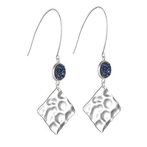 CrownUS Sparkle Glitter Drop Dangle Earrings Fishhook Style with Lumpy Square Piece Pendant ()