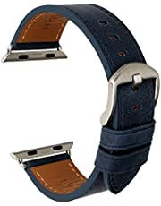 MAIKES Compatible with Apple Watch Band 44mm 40mm 42mm 38mm, Genuine Leather Watch Strap Replacement for Apple Watch Series 4/3/2/1 iWatch