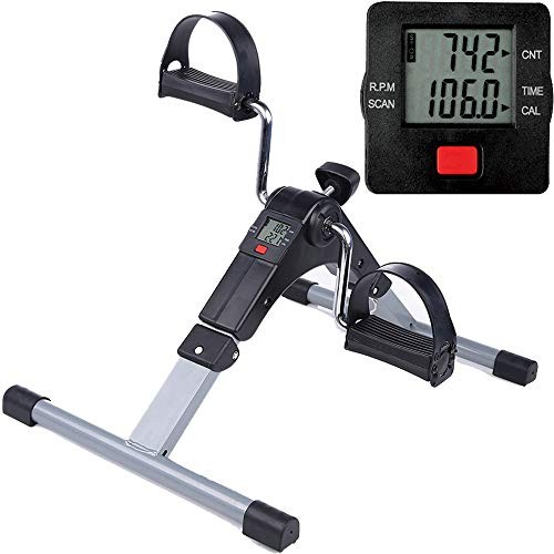 Folding Pedal Exerciser Mini Exercise Bike Portable Foot Peddler Desk Bike Arm and Leg Peddler Machine with LCD -