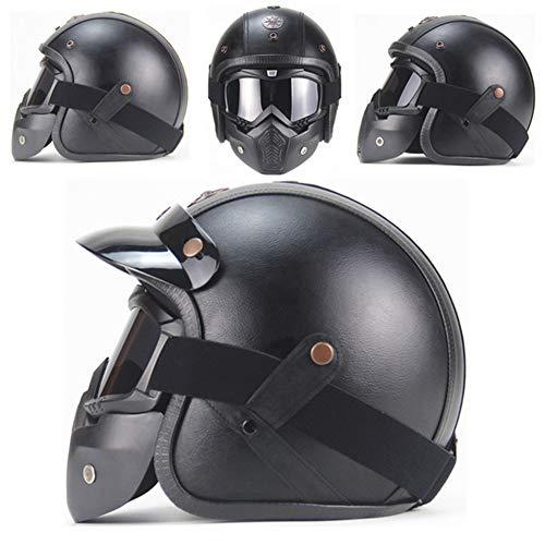 Loyasun Harley Helmets PU Leather 3/4 Motorcycle Chopper Bike Helmet Vintage Motorcycle Helmet with Goggle mask