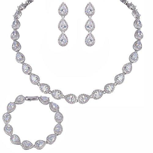 EVER FAITH CZ December Birthstone Elegant Tear Drop Bridal Necklace Earrings Bracelet Set Clear (Birthstone Jewelry Sets For Women)