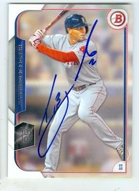 Xander Bogaerts autographed baseball card (Boston Red Sox) 2015 Topps Bowman #81 by Autograph Warehouse