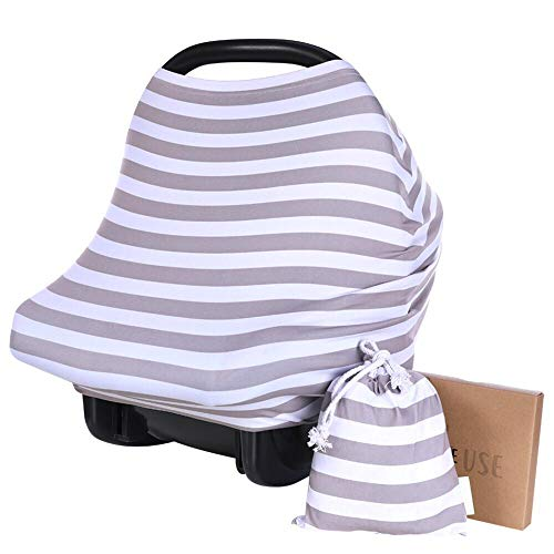 Infant Seat Cover Car - Carseat Canopy Cover - Baby Car Seat Canopy KeaBabies  - All-in-1 Nursing Breastfeeding Covers Up - Baby Car Seat Canopies For Boys, Girls - Stroller Covers - Shopping Cart Cover (Gray)