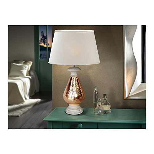 Schuller Spain 535469I4L Moroccan Copper Drum Shade Table Lamp 1 Light Living Room, bed room, Study, Bedroom LED, White Shade copper table lamp | ideas4lighting by Schuller