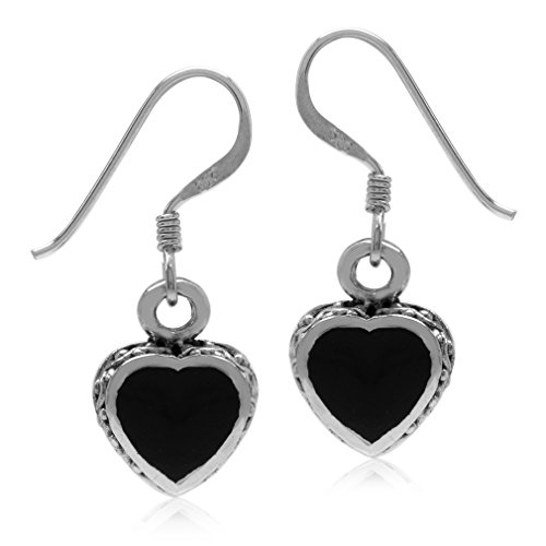 Heart Shape Created Black Onyx Oxidized Finish 925 Sterling Silver Dangle Hook ()