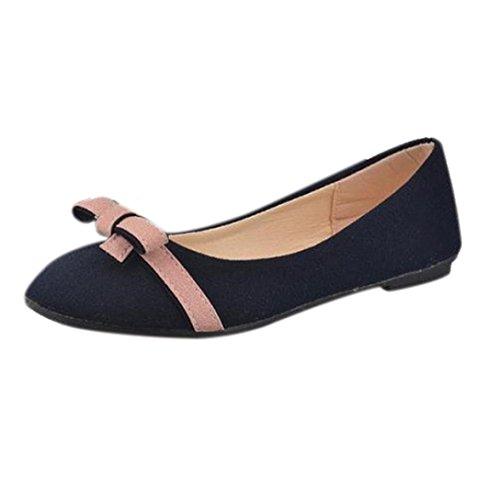 Webla Women Bowknot Slip on Casual Work Loafers Lazy Shoes Single Shoes Leisure Flats Blue Yq4zHrohN6