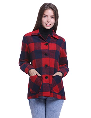 Long Sleeve Plaid Coat - Fancyqube Women's Long Sleeve Button Down Checkered Buffalo Plaid Coat Red S