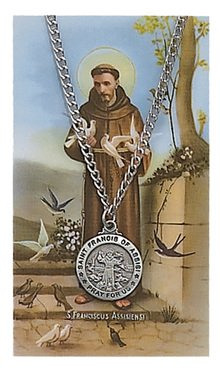 Sports Prayer Card - St. Francis of Assisi 3/4-inch Pewter Medal Pendant with Prayer Card