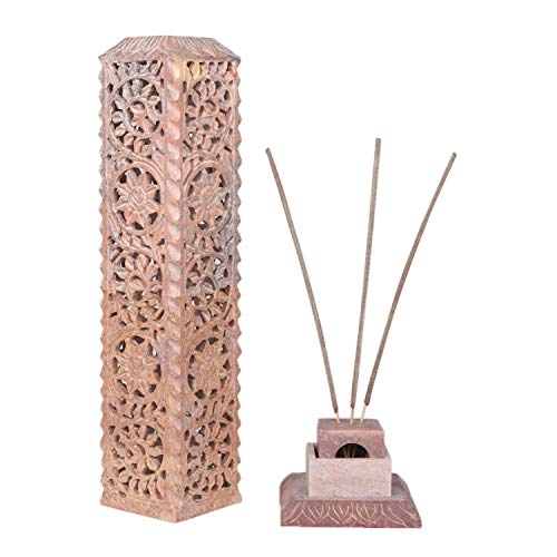 Carry Me Hand Carved Marble Soapstone Incense Stick Burner Candle Holder for Gifting Purpose and Home and Kitchen Decor (3 x 3 x 11 Inches)