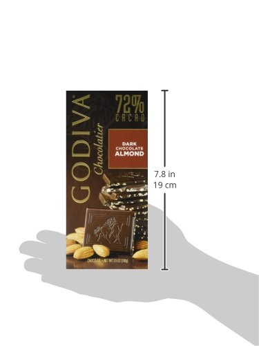 031290035533 - Godiva Chocolatier Dark Chocolate with Almond Bar, Large carousel main 4