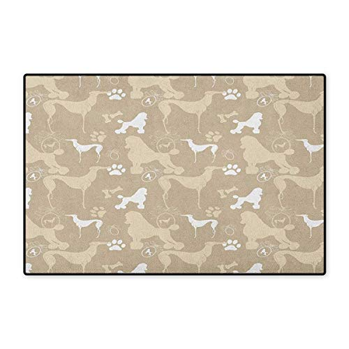 Dog Lover,Door Mats Carpet,Pet Animals Accessories Leash Paw Print Bone Ornamental Abstract Illustration,Door Mats for Inside Non Slip Backing,Tan White,Size,24