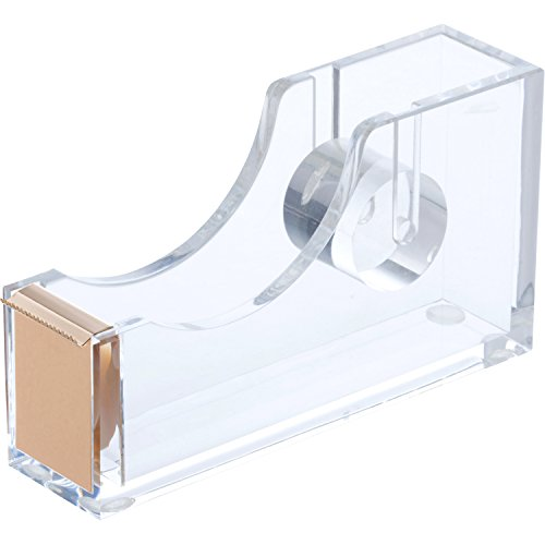 "e Dispenser (Gold) Clear, Transparent Design with Easy-Cut Edge | One-Hand Operation | Fits Standard 1"" Rolls 