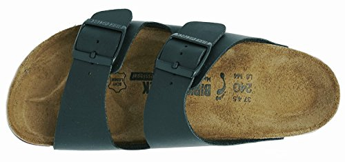 Birkenstock Women's Classic Cork Footbed Arizona 2-Strap Sandal In Natural Leather, Smooth Black Natural Leather' (37 M EU/6-6.5 B(M) US Women) by Birkenstock (Image #2)