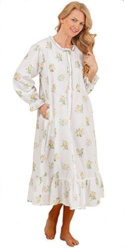 La Cera Woven Cotton Long Sleeve Plus Size Robe (1X (18W-20W), Yellow Multi)