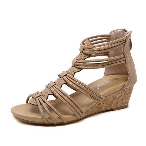 (Womens Bohemian Sandals Roman Slingback T-Strap Rhinestone Ankle Strap Thong Sandals,Apricot,35)