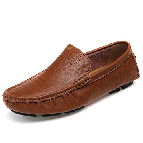 Go Tour Heren Classy Echt Leer Mode Voor Onderweg Rijden Casual Loafers Bootschoenen Bruin
