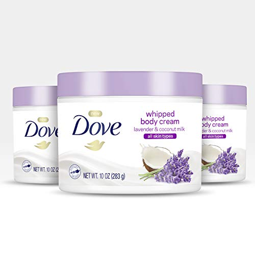 Dove Whipped Body Cream Dry Skin Moisturizer Lavender and Coconut Milk Nourishes Skin Deeply 10 oz 3 Count