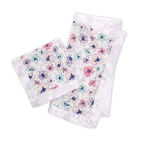 Floral Muslin Blanket with Satin Trim