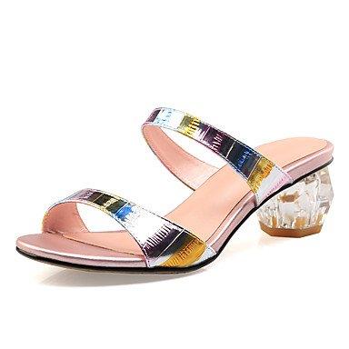LvYuan Tacón Robusto Tacón de cristal-Zapatos del club-Sandalias-Oficina y Trabajo Vestido Informal-Cuero-Azul Oro Gold