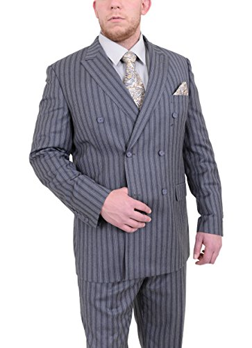 150s Wool Suit - Steven Land Classic Fit Gray Striped Double Breasted Pleated Super 150s Wool Suit