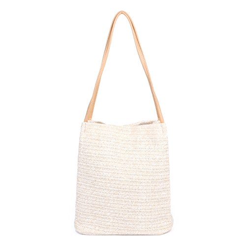 JAGENIE Mujeres Hechas a Mano Straw Woven Beach Tote Bolso de Hombro de Verano Shopping Bag New Light Beige Beige Claro