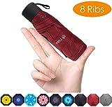 FidusUpgraded 8 Ribs Mini Portable Sun&Rain Lightweight WindproofUmbrella - Compact Parasol Outdoor Travel Umbrella for MenWomen Kids-Wine Red