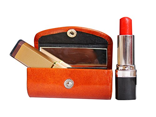 (Rakhi Gifts Leather Lipstick Case Holder - Organizer Bag for Purse- lipstick holder- Durable Soft Leather -Cosmetic Storage Kit With Mirror (Brown) )