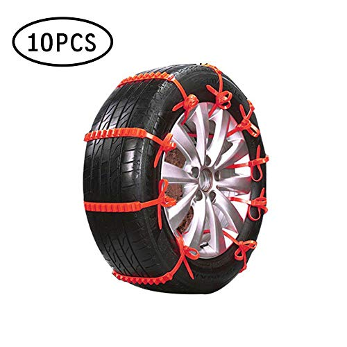Pawaca Car Anti Slip Tire Chains, 10 Pcs Car Winter Snow Chains, Adjustable Emergency Anti-Slip Chains for Car, SUV and Light Truck - Car Winter Driving Security Chains