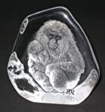 Mats Jonasson Crystal Macaque wih child Monkey Ape (Small)