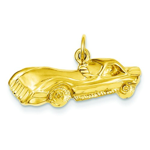 Corvette Car Charm - 14K Yellow Gold Corvette Sports Car Charm FindingKing
