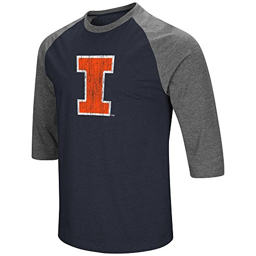 Colosseum Mens Illinois Fighting Illini 3/4 Sleeve Raglan Tee Shirt - - Illini Dorm Illinois Fighting