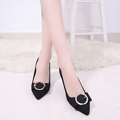 Dames Dames Pumps Pumps Loafers Suede Puntschoen Instapper Blokhak Classic Fashion Loafer Pump Zwart