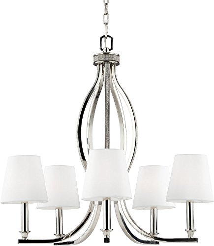 Feiss F2967/5PN Pave Glass Chandelier Lighting with Shades, Chrome, 5-Light (25
