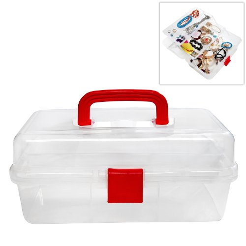 MyGift Clear Multi Trays Craft Supply Case / First Aid Storage Container Box w/ Red Top Handle & Lock