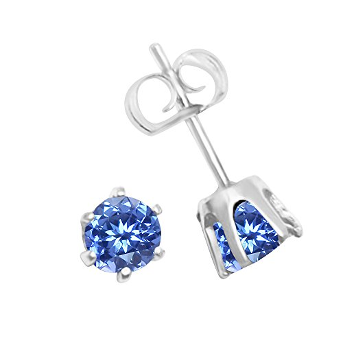 - 14K White Gold Genuine Light Blue Sapphire Stud Earrings, 4mm