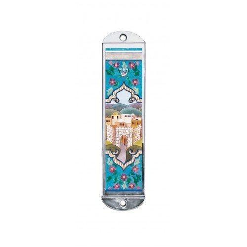 Mezuzah Case - Art on Metal, Jerusalem Design, 4