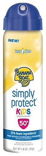 Banana Boat Sunscreen Simply Protect Kids Tear Free, Broad Spectrum Mineral Sunscreen Spray, TSA Approved Size, SPF 50+, 1.8 Ounce