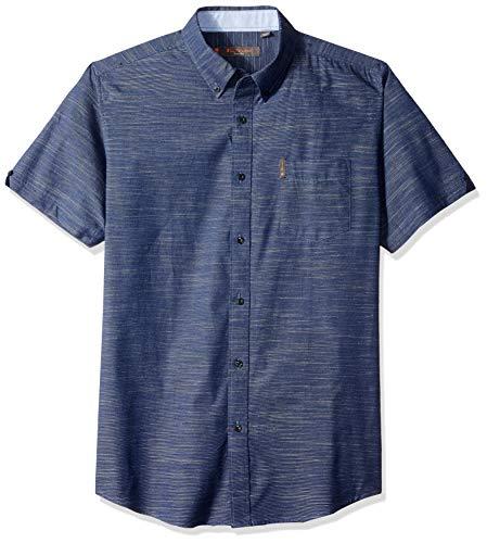 - Ben Sherman Men's SS Horizontal SLUB Shirt, Dark Blue XXL