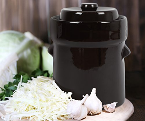 Kenley Fermentation Crock Jar 5 Liter & Pounder - 1.3 Gallon Fermenting Pickling Pot for Healthy Kimchi Sauerkraut Pickles Fermented Vegetables - Stoneware Ceramic Fermenter with Weights & Lid (Gallon Crock 1)