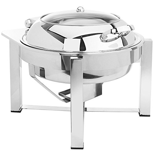 Eastern Tabletop 3948GS 6 Qt. Round Stainless Steel Chafer with Stand and Hinged Glass Dome Cover